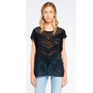 IRO Black Lana Embroidered Top